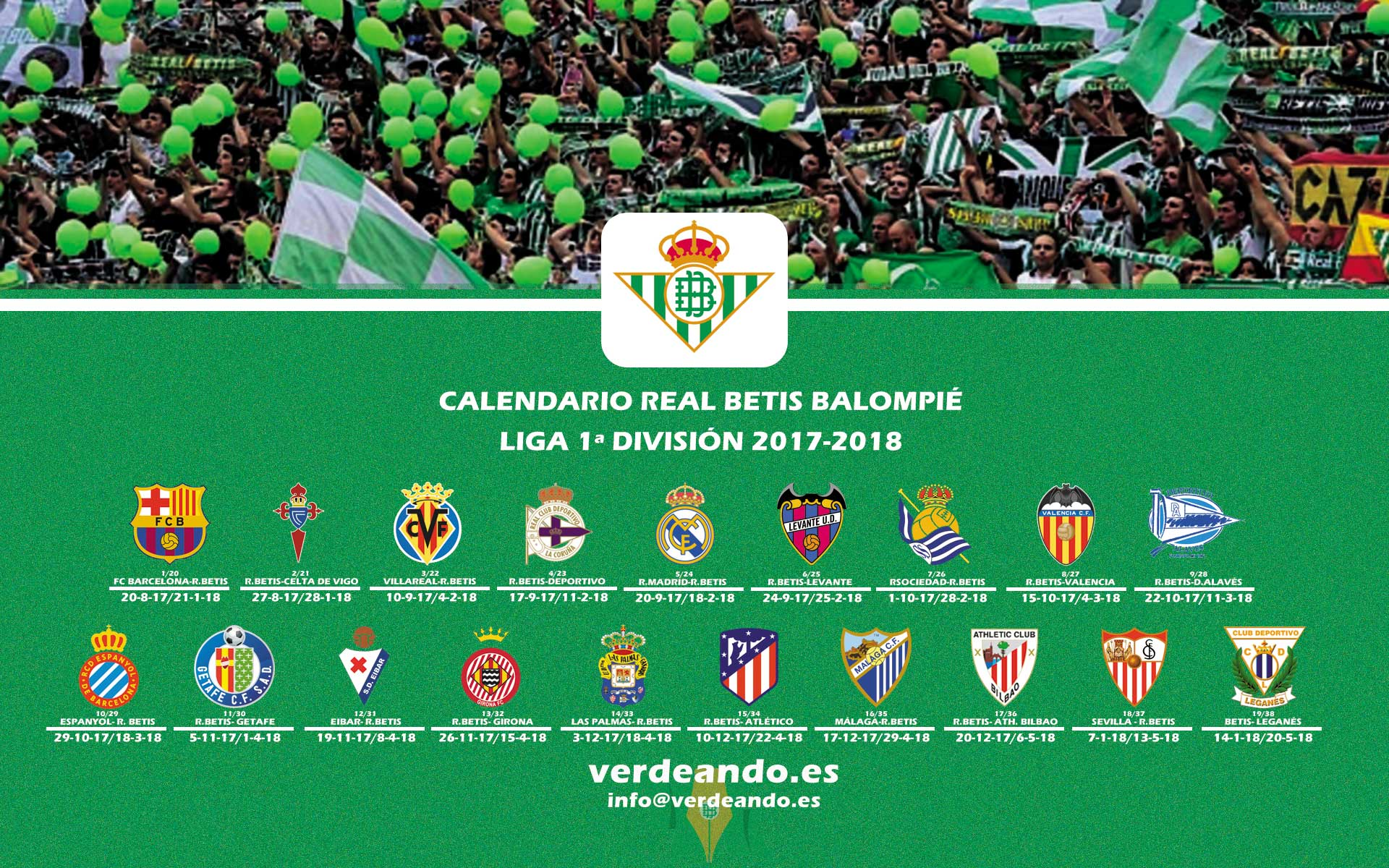 Calendario Del Real.Descargate El Calendario Betis De La Liga Temporada 2017 2018