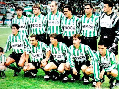 REAL BETIS BALOMPIÉ - Sevilla, España - Temporada 1993-94 - Soler, Márquez, Roberto Ríos, Alexis, Olías y Diezma; Aquino, Cuéllar, Merino, Cañas y Ureña - REAL BURGOS C. F. 0, REAL BETIS BALOMPIÉ 2 (Márquez y Aquino) - 08/05/1994 - Liga de 2ª División, jornada 37 - Burgos, estadio del Plantío - Con esta victoria el Burgos certificaba su ascenso a 1ª, con Lorenzo Serra Ferrer de entrenador, que había sustituido a Sergio Kresic en la jornada 27
